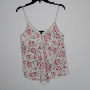 American Eagle Outfitters V Neck V Cut Flower Tank